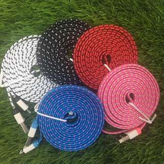 2 metre rope fabric charging cable iphone lightning (SALE)