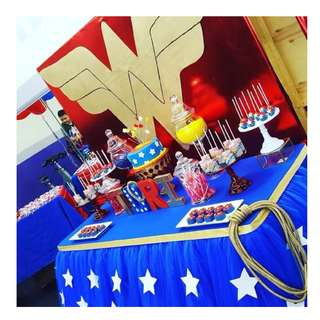 WONDER WOMAN Themed Birthday Party (Party Supplies) Pls CHAT with us for the detailed/specific product listing & price.. We Have wide range of stocks pre printed & personalized...