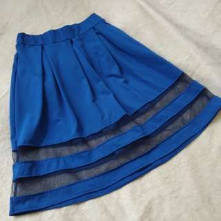 BLue Knee length Skater skirt