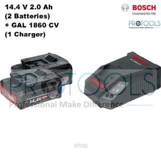 Bosch 14.4V 2.0Ah Professional Starter Kit (2 x 2.0Ah Batteries + AL 1860CV Charger) - 1600A001AG