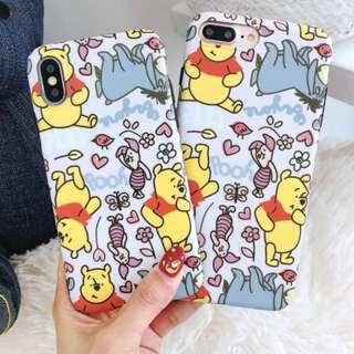 手機殼IPhone6/7/8/plus/X : 鮮花維尼熊小豬全包黑邊軟殼