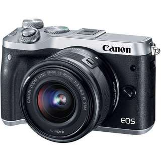 Canon EOS M6 Mirrorless Digital Camera with 3 Lens (Silver)