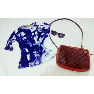 Blue and White Tie Dye 3/4 Sleeve Shirt