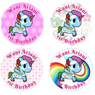 Personalized Tokidoki Cupcake Toppers, Stickers, Tags for Birthday