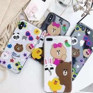 手機殼IPhone6/7/8/plus/X : 夏日小熊兔LINEFRIENDS全包透明軟殼
