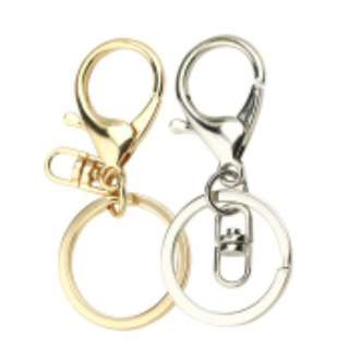 Key Chain Keyring Alloy Pendant Silver Gold Car Purse Fob Hook Clasp