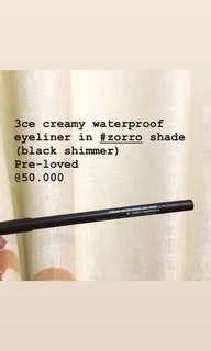 3ce creamy waterproof eyeliner #zorro shade