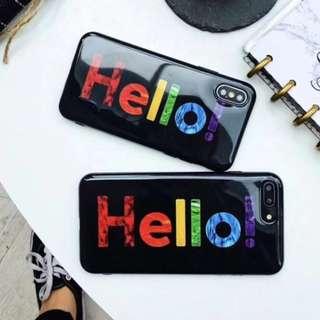 手機殼IPhone6/7/8/plus/X : 彩虹字母HELLO全包邊光面軟殼