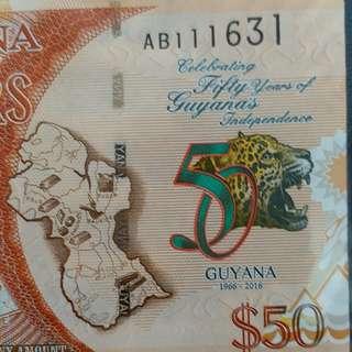2016年 南美洲 圭亞那 50元 獨立50週年紀念鈔 全新直版