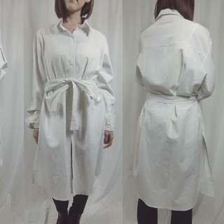 正韓白色長袖開叉文青氣質長版大碼襯衫洋裝