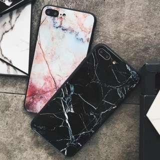 手機殼IPhone6/7/8/plus/X : 大理石紋鏡面玻璃背板殼