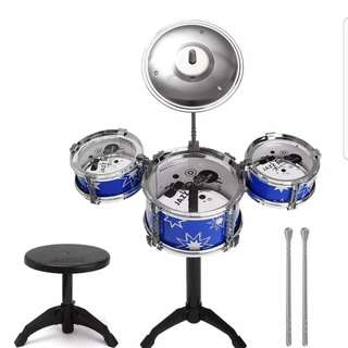 Children's early childhood music enlightenment toy drums percussion drums simulation fun Jazz Drum Mini Musical Instrument Sets Blue with chair