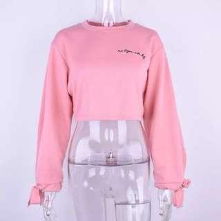 粉紅色短身衛衣