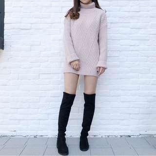 粉色斜織紋小樽領毛衣