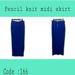 Pencil midi skirt (rok sepan biru)