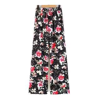 European and American style flower print waist belt was thin casual straight leg pants