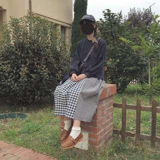 🚚 日系感格子傘裙