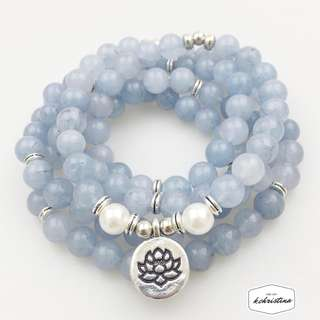 [PO] Blue Stone 108 Mala Beads with Lotus Charm Necklace