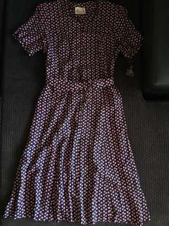 REDUCED! Authentic Vintage Print Dress with Belt (Made in England)