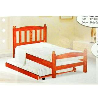 SINGLE BED KAYU+PULL OUT