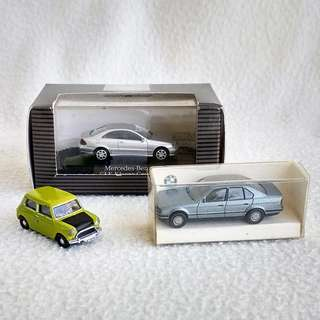 Lot Sale: Miniature Mercedes CLK, BMW 535i & Austin Mini Model Toy Cars