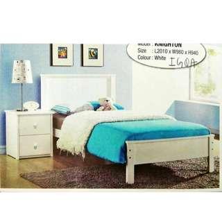 SINGLE BED KAYU WHITE