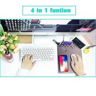4 in 1 Qi wireless charger charging holder mouse pad mat