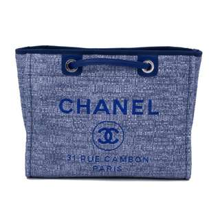 (NEW) Chanel A67001 Y83243 DENIM DEAUVILLE SHOPPING TOTE FABRIC SMALL SHOULDER BAG SHW, BLUE / 4B219 全新 手袋 藍色