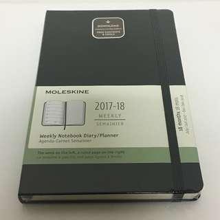 Free Mailing! Moleskine Planner 18m 2017-2018 Hard Cover - Black