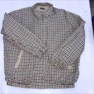 古著 英國 DAKS 達克斯 雙面穿 電繡LOGO 格紋 素面 翻領 休閒外套