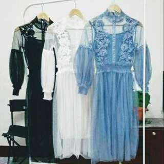 全新雪紡燈籠袖泡泡袖網紗洋裝