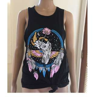afends size 10 low cut arm hippy singlet