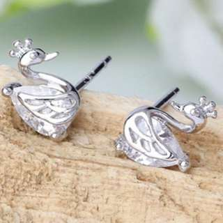1 Pair Elegant Ladies Temperament Crown Swan 925 Silver Ear Stud Earring Jewelry