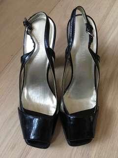 """購自London Nine West black high heels platform 粗跟 踭 女神鞋 4.5"""""""