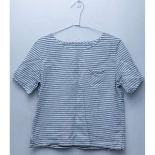 淺藍色棉麻條紋短版上衣