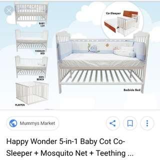 Baby Cot + Mattress + Premium Cotton Bedding Set