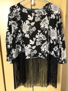 Fringe cardigan outerwear jacket black floral