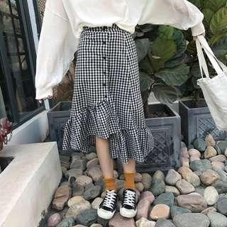 黑白格不規則魚尾裙長裙