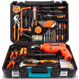 (Out of stock) Professional Household Tools Set With and Without Power Drill - Delivery by QExpress