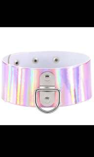 Pink holographic Choker Necklace