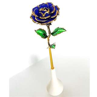 Blue Rose flower 24K gold plated anniversary gift