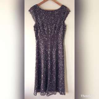 🆕EVENTS LUXE Sequins Cocktail Party Clubbing Dress Grey Size 10