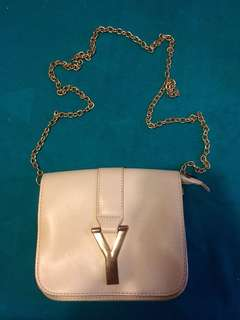 Y pale pink chain small bag