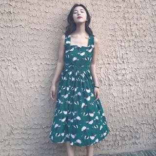 百搭小方領氣質小翠花洋裝