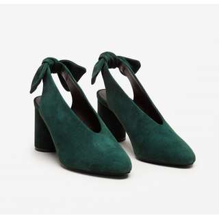 COS Forest Green Slingback Bow Heels Size 7.5