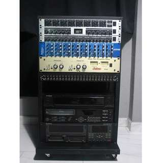 Various Audio Gear Rack Units + Portable Metal Rack Unit (Behringer, Alesis, PreSonus, Bellari, Neutrik, Scandyna)
