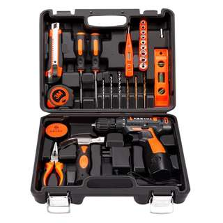 Professional Household Tools Set with Cordless 12v Lithium Drill +( Extra Lithium Battery) US Plug - DELIVERY  BY Qxpress