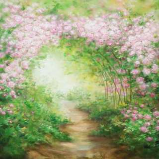 Light Pink Flowers Tunnel Path Green Garden Photobooth Backdrop