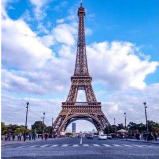 Paris Eiffel Tower Square Blue Sky Photobooth Backdrop