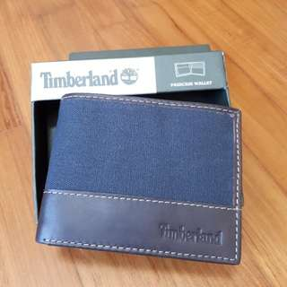 Brand new with tag in box original Timberland Men Wallet   Authentic and Canvas Leather brown/Denim Blue